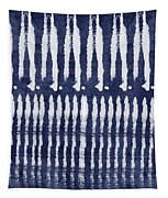 Blue And White Shibori Design Tapestry by Linda Woods