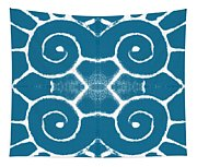 Blue And White Wave Tile- Abstract Art Tapestry