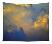 Blue And Yellow Clouds At Sunset With Birds Usa Tapestry