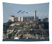 Blue Angels Over Alcatraz Tapestry