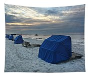 Blue Beach Chairs Tapestry