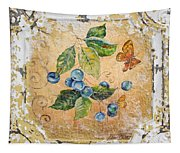 Blue Berries And Butterfly On Vintage Tin Tapestry