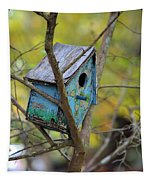 Blue Birdhouse Tapestry