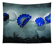 Blue Blown Glass Shadows Tapestry