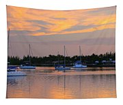 Blue Boats At Sunset Tapestry