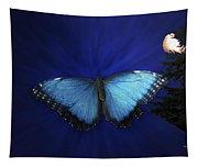 Blue Butterfly Ascending Tapestry