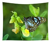 Blue Butterfly In The Green Garden Tapestry