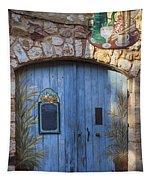Blue Cafe Doors Tapestry