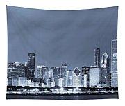 Blue Chicago Skyline Tapestry