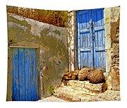 Blue Doors Of Santorini Tapestry