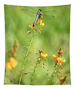 Blue Dragonfly In The Flower Garden Tapestry