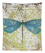 Blue Dragonfly On Vintage Tin Tapestry