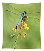 Blue Dragonfly On Yellow Flower Tapestry