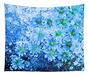 Blue Floral Fantasy Tapestry
