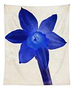 Blue Flower Beige Texture Tapestry