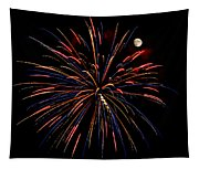 Blue Gold Pink And More - Fireworks And Moon Tapestry