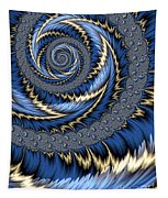 Blue Gold Spiral Abstract Tapestry