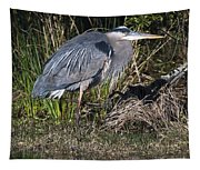 Blue Heron On The Hunt Tapestry