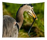 Blue Heron With A Snake In Its Bill Tapestry