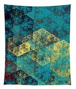 Blue Hexagon Fractal Art 2 Of 3 Tapestry