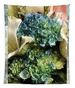 Blue Hydrangeas Painterly Tapestry