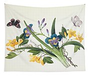 Blue Iris And Insects Tapestry