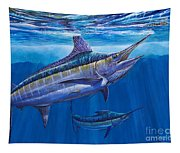Blue Marlin Bite Off001 Tapestry