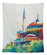 Blue Mosque Sun Kissed Domes Tapestry