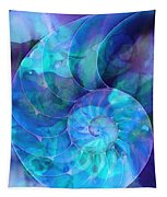 Blue Nautilus Shell By Sharon Cummings Tapestry