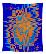 Blue Orange Abstract Tapestry