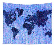 Blue Pointillist World Map Tapestry