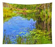 Blue Pond And Water Lilies Tapestry