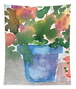 Blue Pot Of Flowers Tapestry