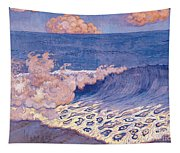 Blue Seascape Wave Effect Tapestry