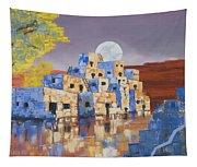 Blue Serpent Pueblo Tapestry