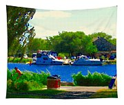 Blue Skies Boats And Bikes Montreal Summer Scene The Lachine Canal Seascape Art Carole Spandau Tapestry