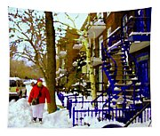Blue Snowy Staircase And Birch Tree Montreal Winter City Scene Quebec Artist Carole Spandau Tapestry