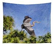 Blue Tree Hopping Tapestry