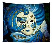 Blue Venetian Mask Tapestry