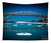 Blue Water Bridge Reflection Tapestry