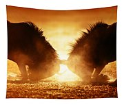 Blue Wildebeest Dual In Dust Tapestry