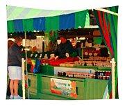 Blueberries Strawberry Jam Baskets Ferme Racine Petits Fruits Jean Talon Market Scene Carole Spandau Tapestry