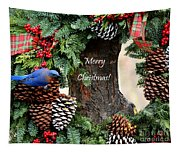 Bluebird Christmas Wreath Tapestry
