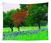 Bluebonnets With Red Flourish  Tapestry