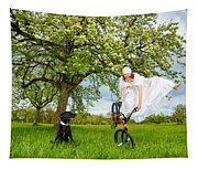 Bmx Flatland Bride Jumps In Spring Meadow Tapestry
