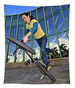 Bmx Flatland - Monika Hinz Riding On Rear Wheel Tapestry
