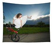 Bmx Flatland Rider Monika Hinz Jumps In Wedding Dress Tapestry