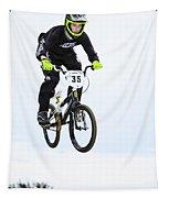 Bmx Racer Goes Airborne Tapestry