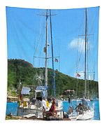 Boat - Relaxing At The Dock Tapestry