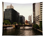 Boat Ride On The Chicago River Tapestry